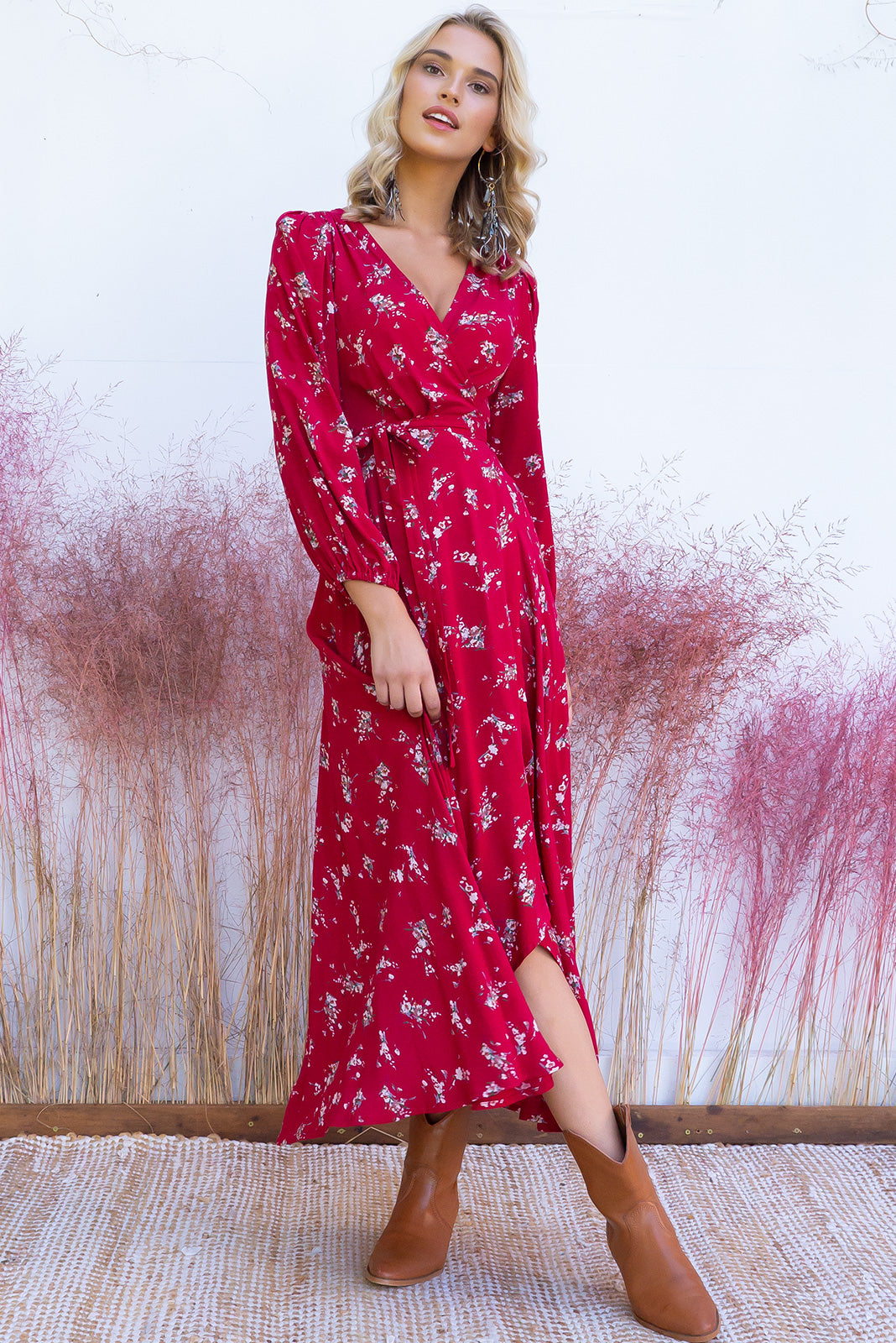 Daydreamer Rumi Red  Maxi Wrap Dress with a full length sleeve in a wrap around style in a romantic vintage boho rose print in a true red ditzy itzy floral print boho gypsy on a soft woven rayon fabr