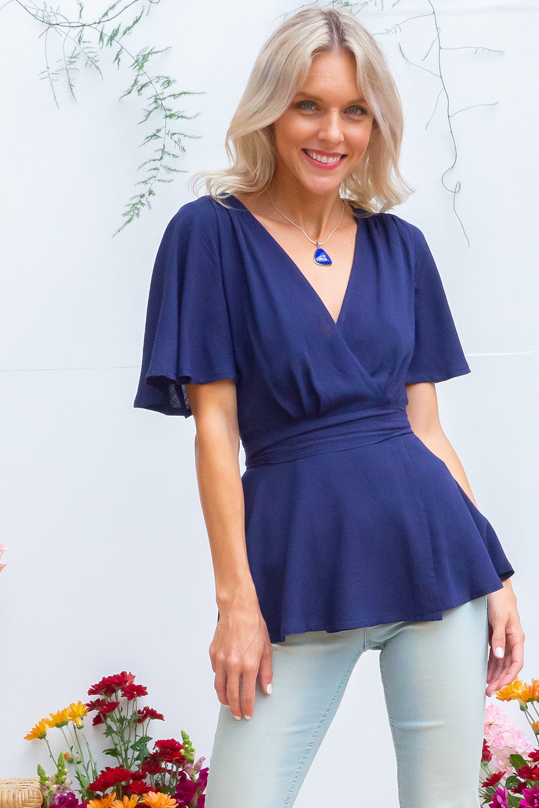 Delta Space Navy Wrap Top with petal sleeves, flattering wrap around in bright navy blue linen look fabric, breastfeeding and plus size suitable