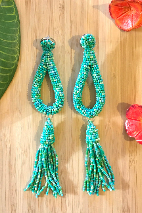 Earrings Rani Seeds Green