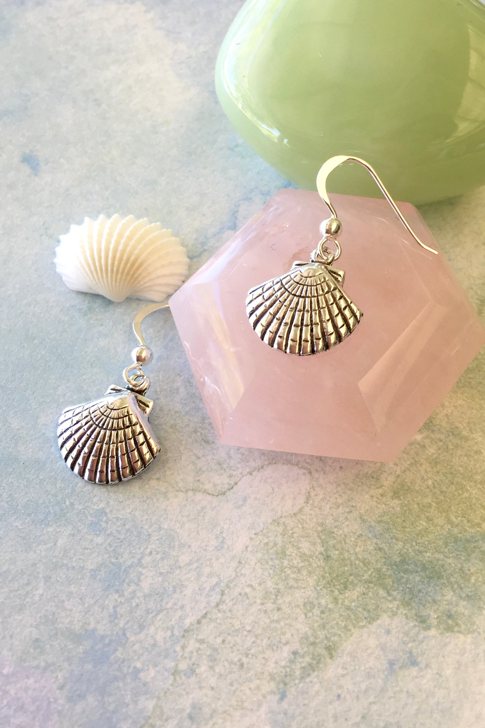 Earrings Cay Shells Hoop in 925 Silver, sea shells style earrings in silver for beach wear
