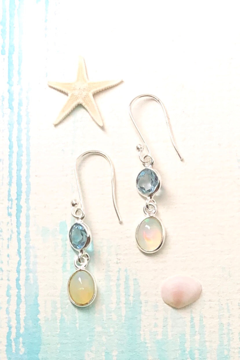 delicate little swing earrings with a pretty Opal and a soft blue Topaz faceted stone