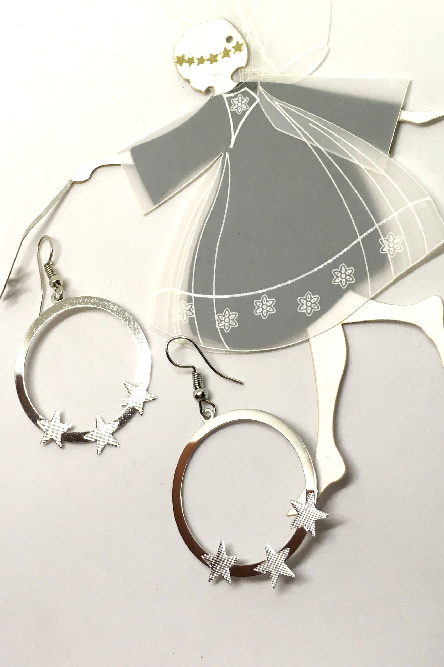Earrings Flutter Starry Night Silver, Boho Silver Statement Earrings