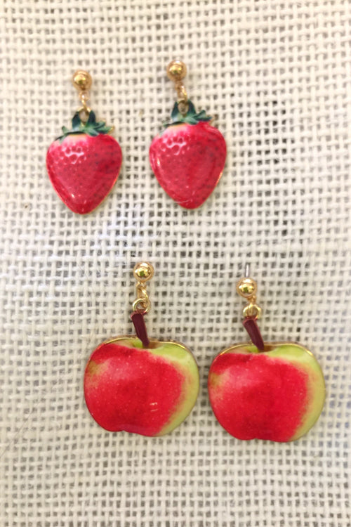 Earrings Fruity Drop Strawberry and Apple enamel