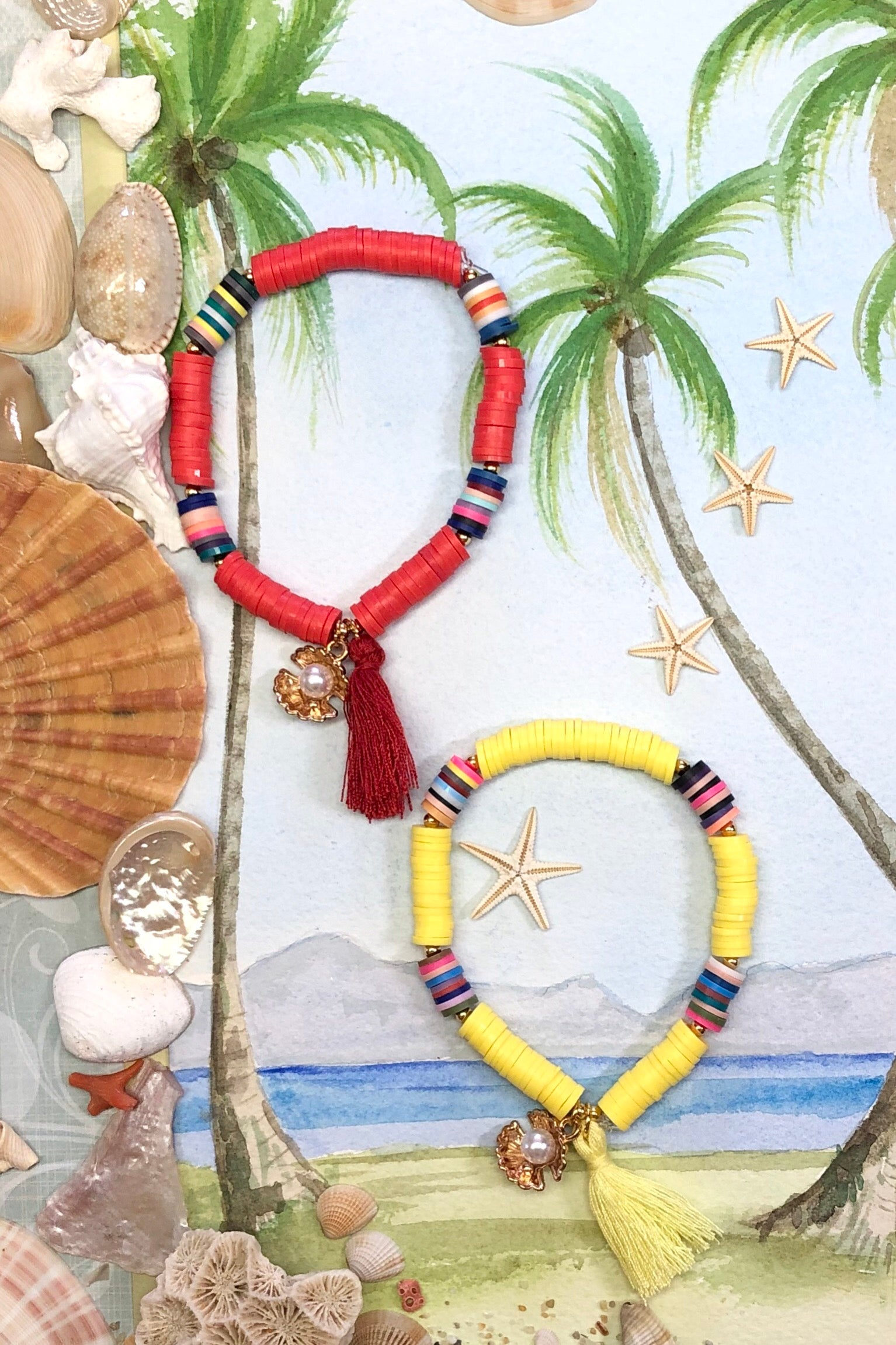 Our Summer cowrie hoop is made with small heishi style beads in amazing fun bright colours, there is a bright gold coloured cowrie hanging at the base.