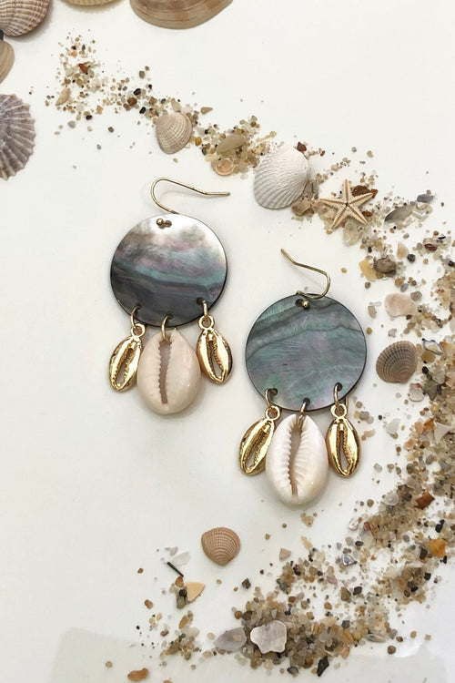 Earrings Cowrie Disc