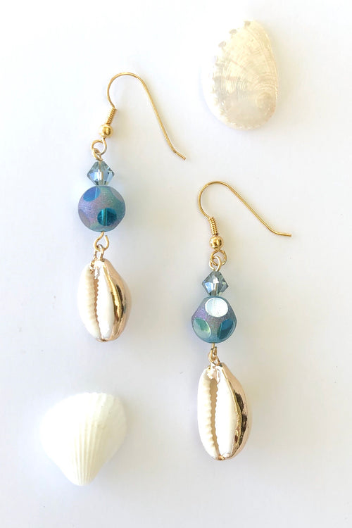 Earrings High Tide Cowrie and Crystal Bead Blue