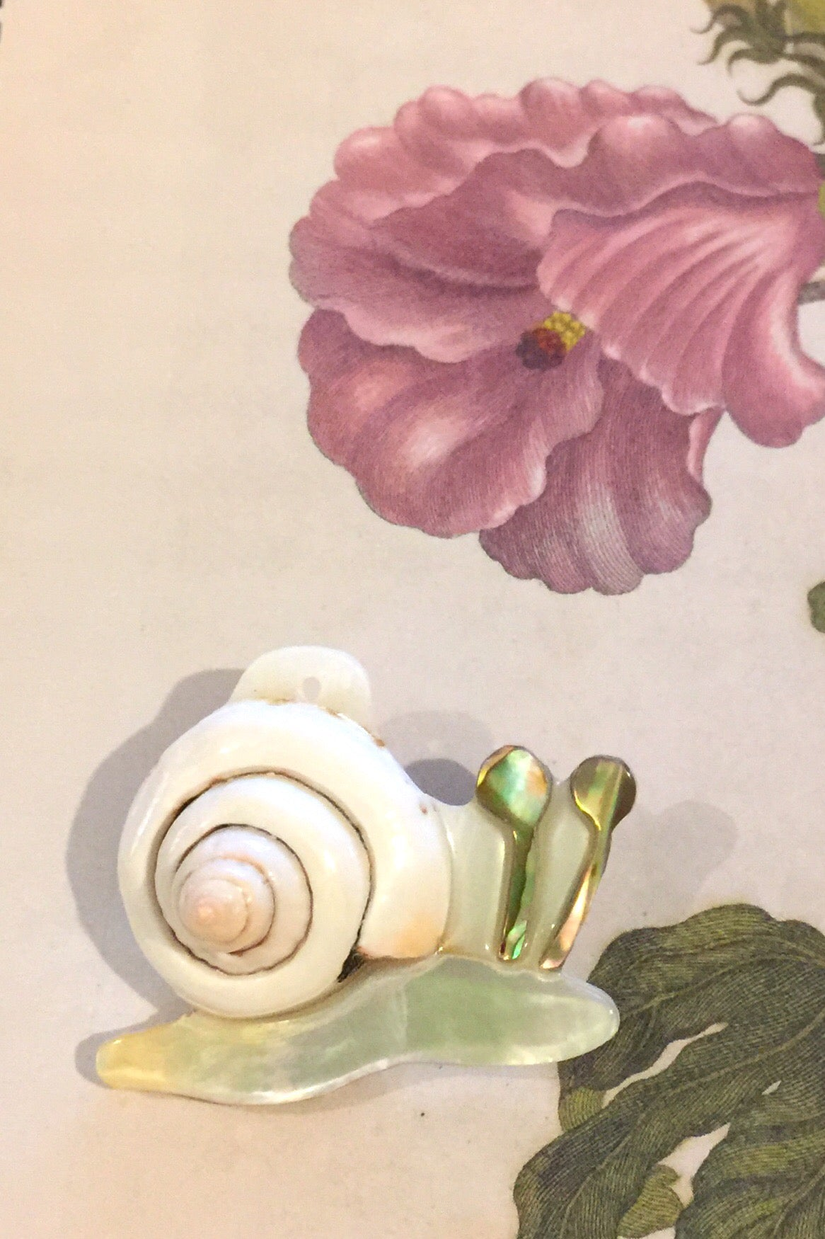 Shell Inlay Snail Brooch