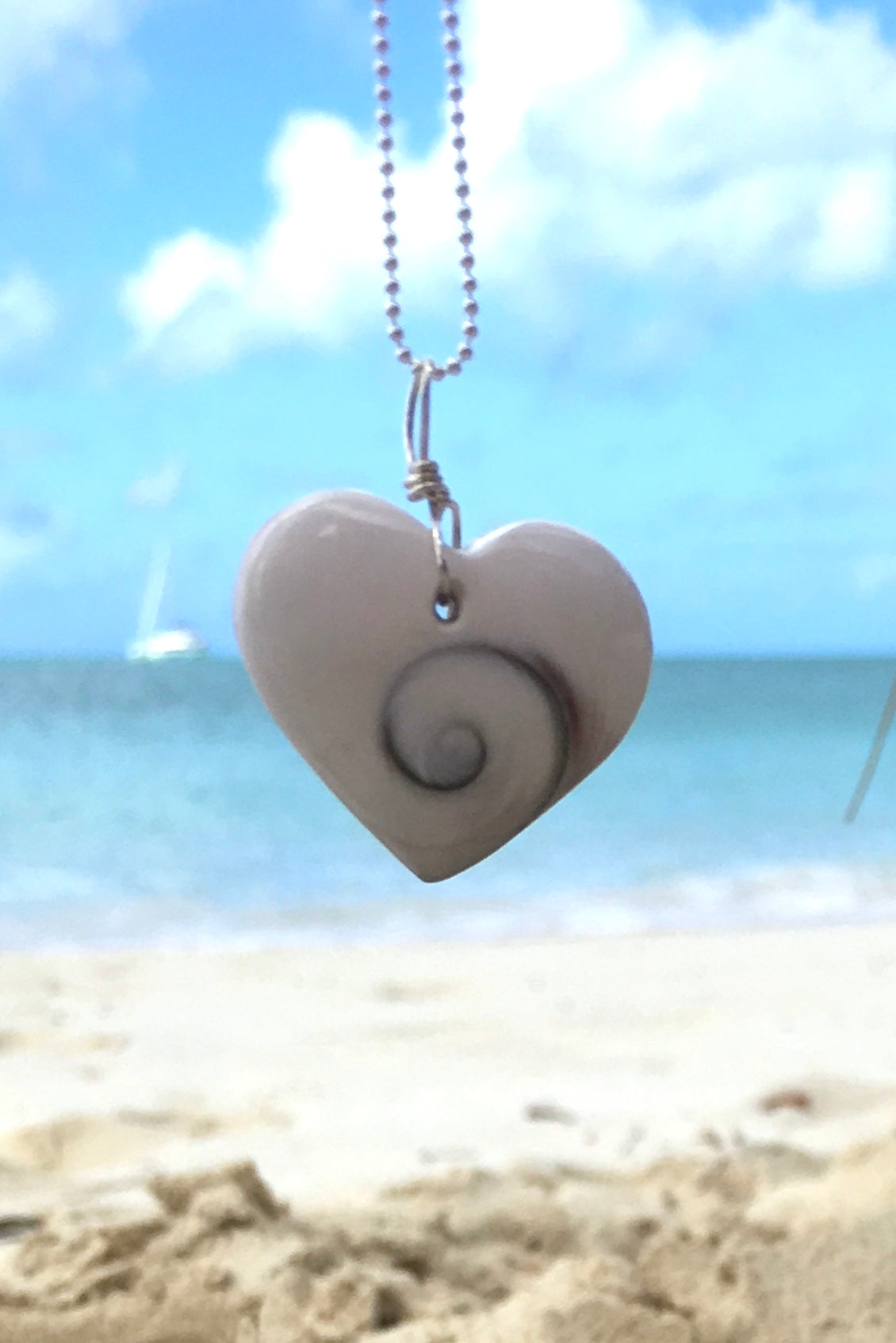 Pendant Heart of Shell, shiva shell pendant on silver chain, seashell necklace
