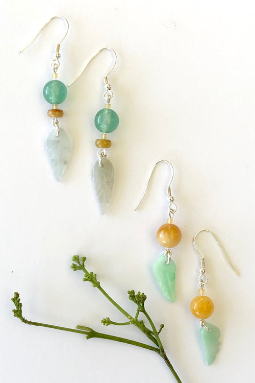 Earrings Jade - Green Leaves