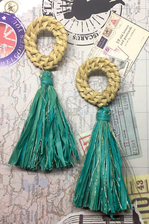 Earrings Rattan Tassel Teal
