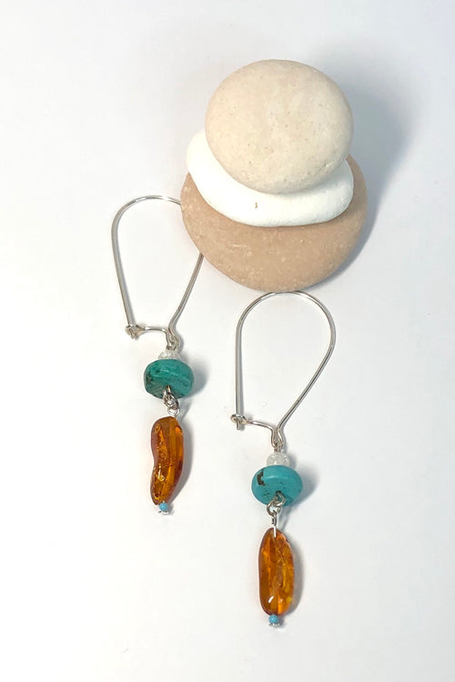 Earrings Samara Silver Amber and Turquoise 7