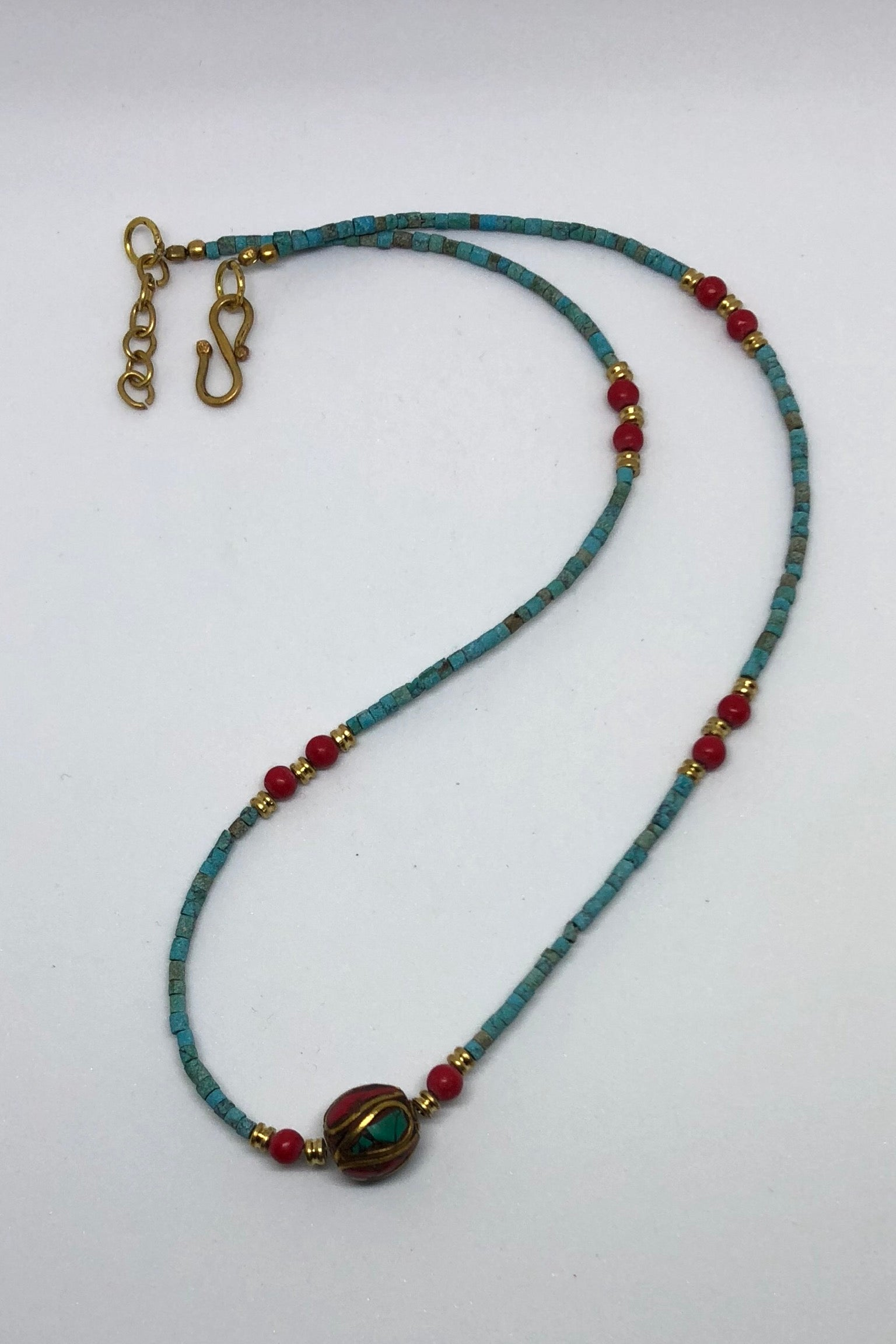 Necklace Paloma, Turquoise and Coral Indian style necklace,