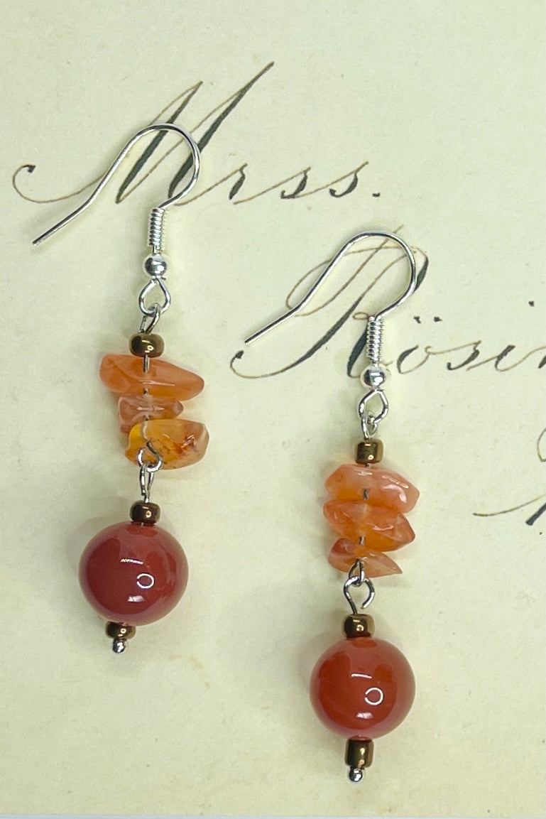 Earrings Samara Carnelian Ball