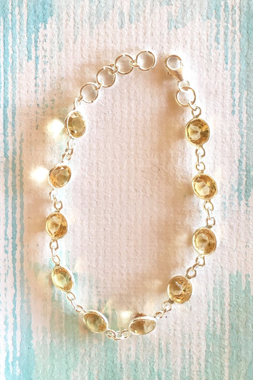 Oracle Citrine Lemon Drops and Silver Bracelet