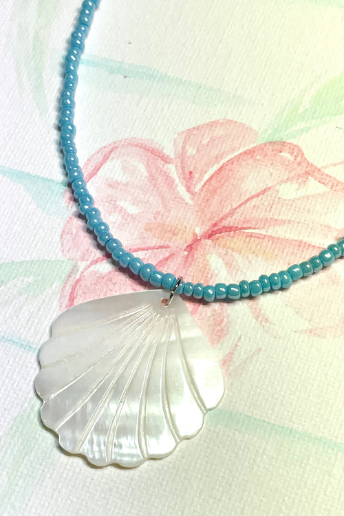 Necklace Shell Island Scallop in Blue