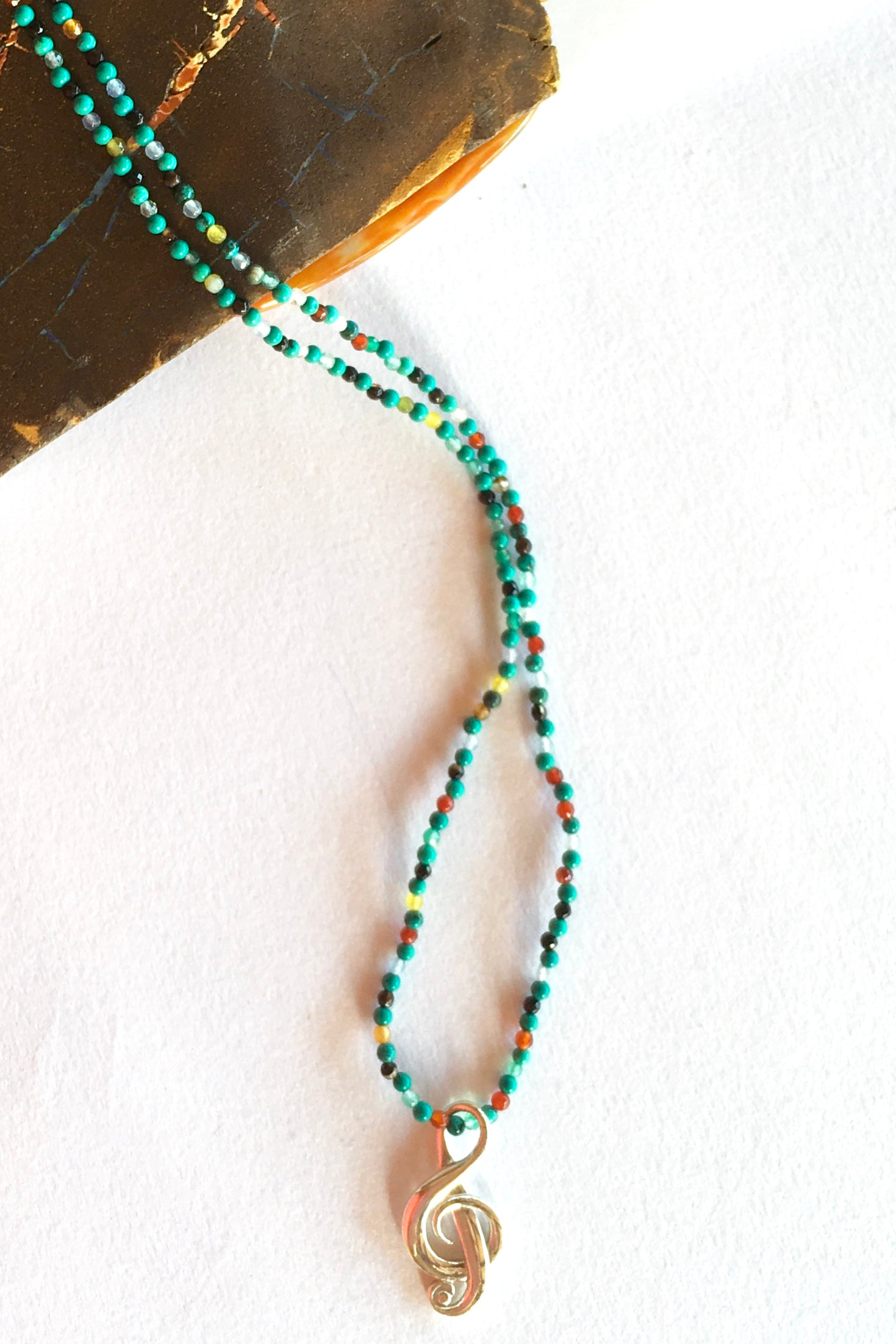 Necklace Cay Music on Gemstone and Turquoise Chain