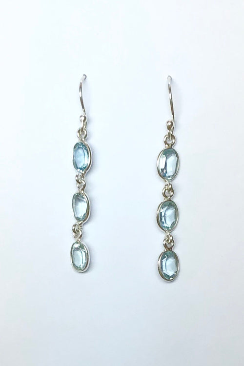 Oracle Earrings Blue Topaz Trio in Silver