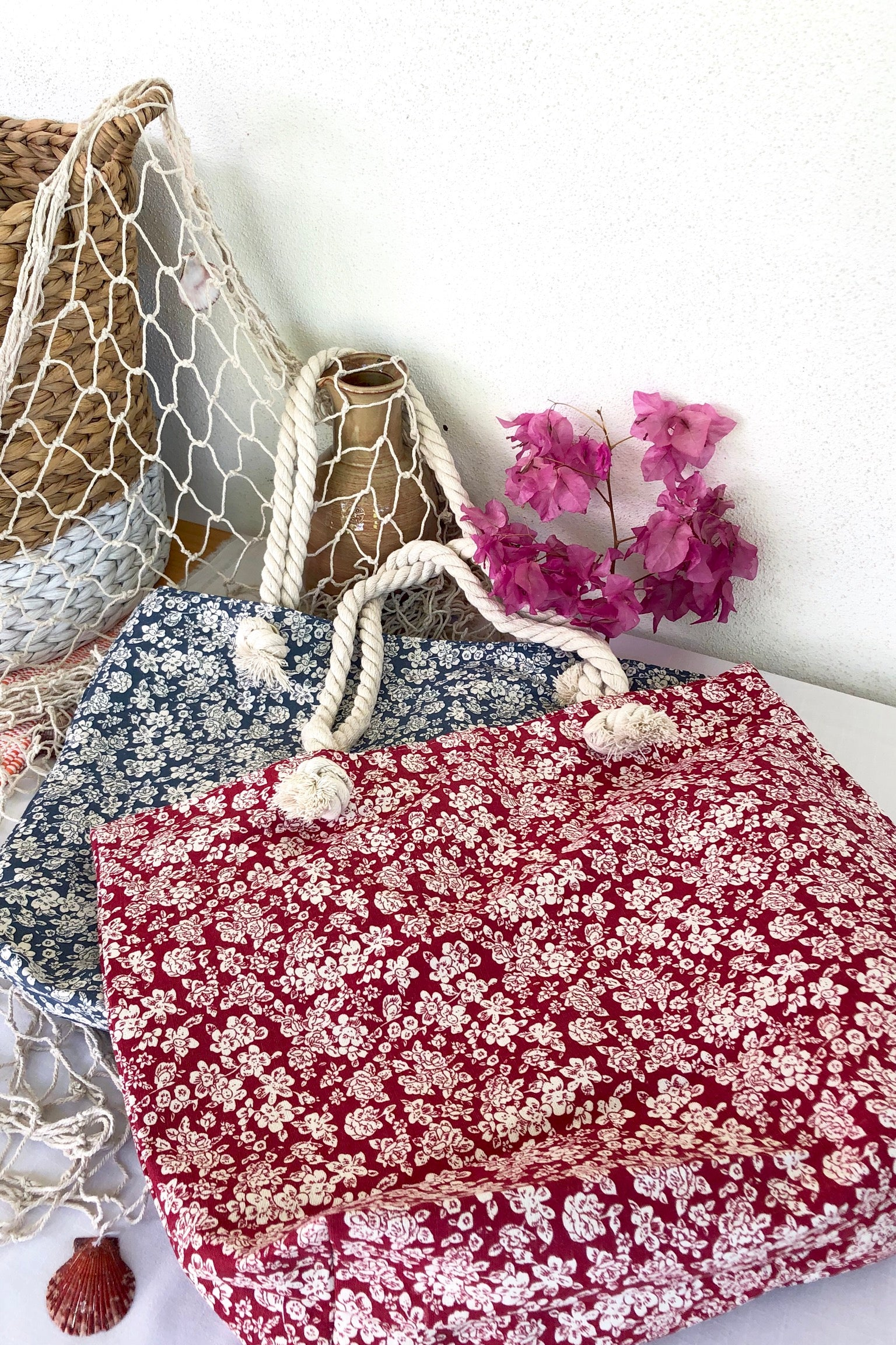 Yeah Canvas Beach Bag Ditzy Red or Navy