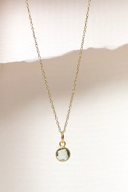 Luna Mint Quartz Pendant on Gold Vermeil Chain