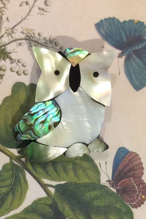Shell Inlay Owl Brooch