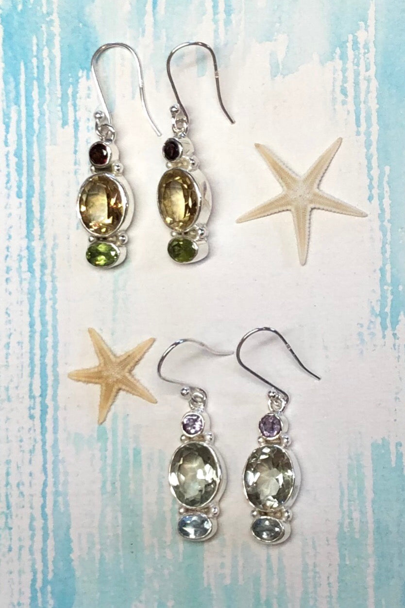 Oracle Earrings Moon Magic in Mint Quartz or Golden Citrine