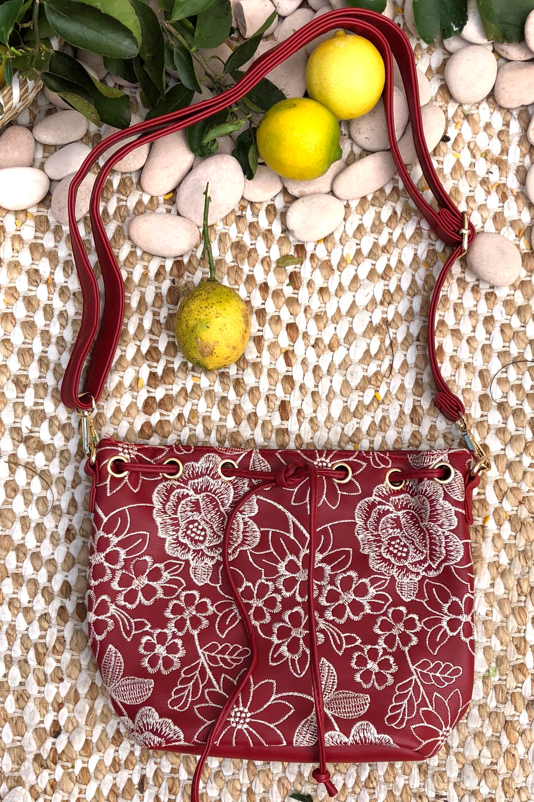 Yeah Bag Boho Embroidery in Red Coloured Vegan Leather