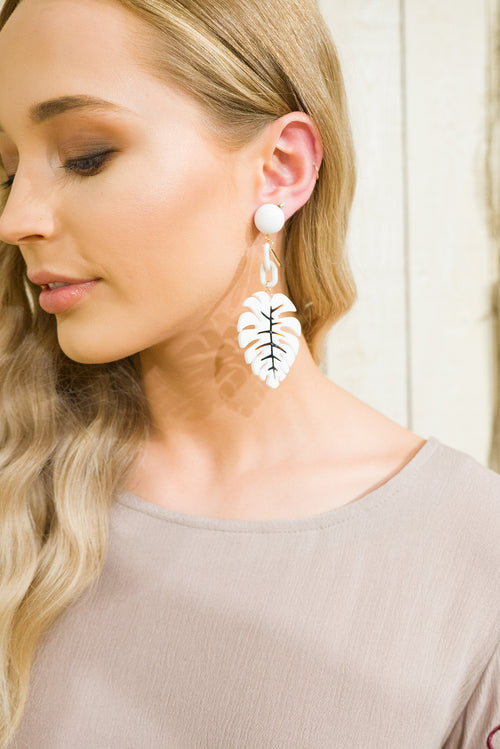 Earrings Moda Tropical Leaf White