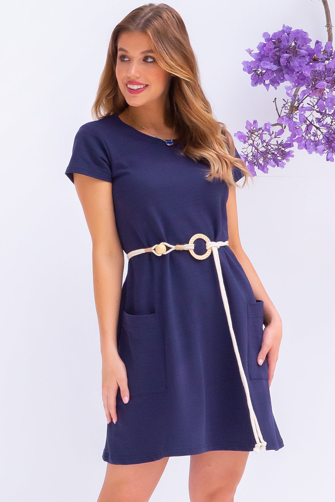 Elsa Nautical Navy Dress sportluxe shift mini dress in cotton/polyester blend with pockets.