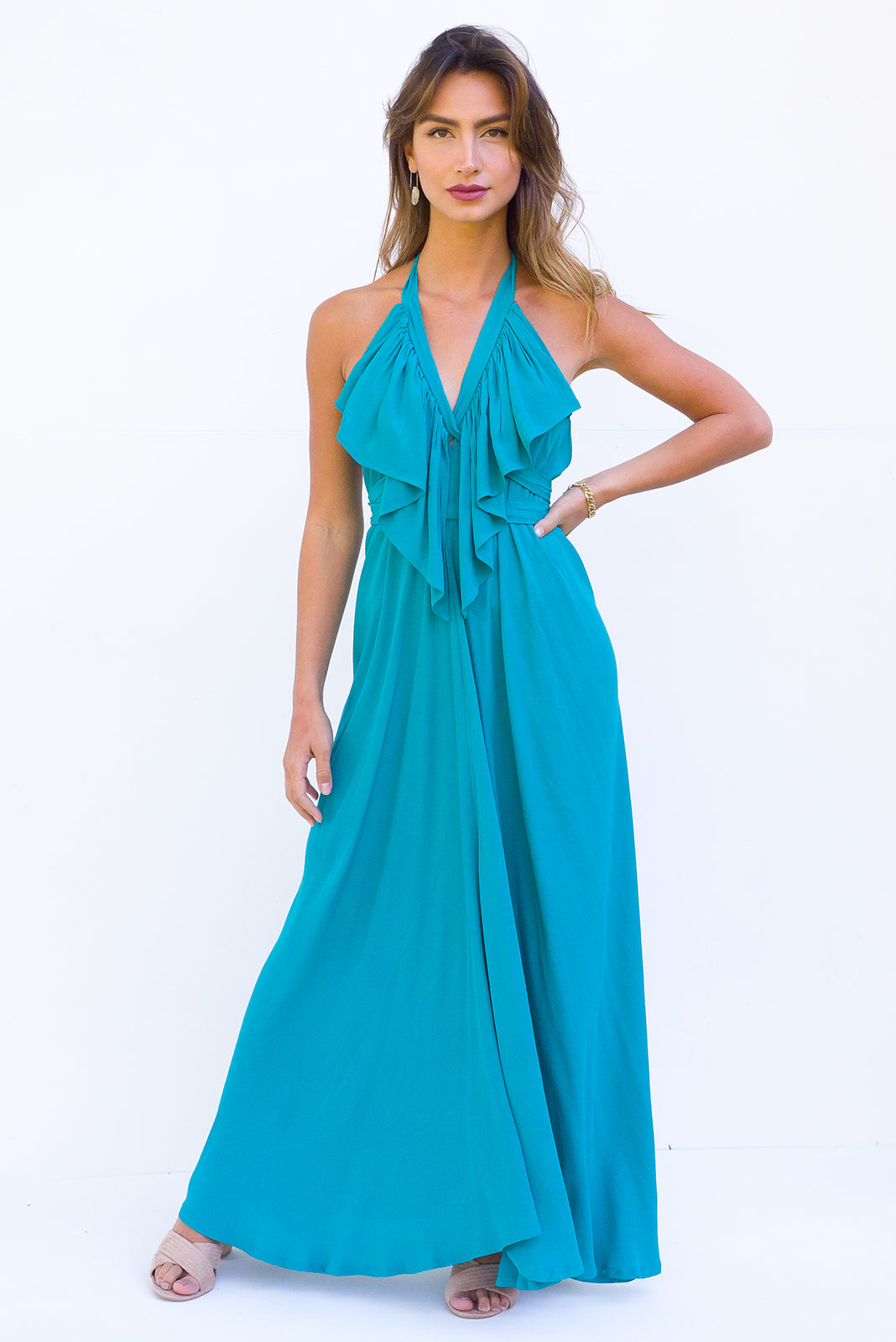 Belle Starr Maxi Dress Backless Halter formal dress in Emerald Green