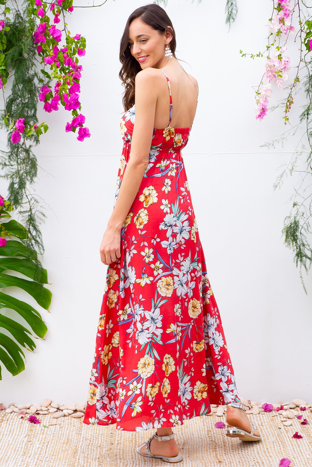 Emmy Summer Red Maxi Dress features a flattering empire line with thin shoulder straps and side pockets in a cool red floral print on woven 100% rayon