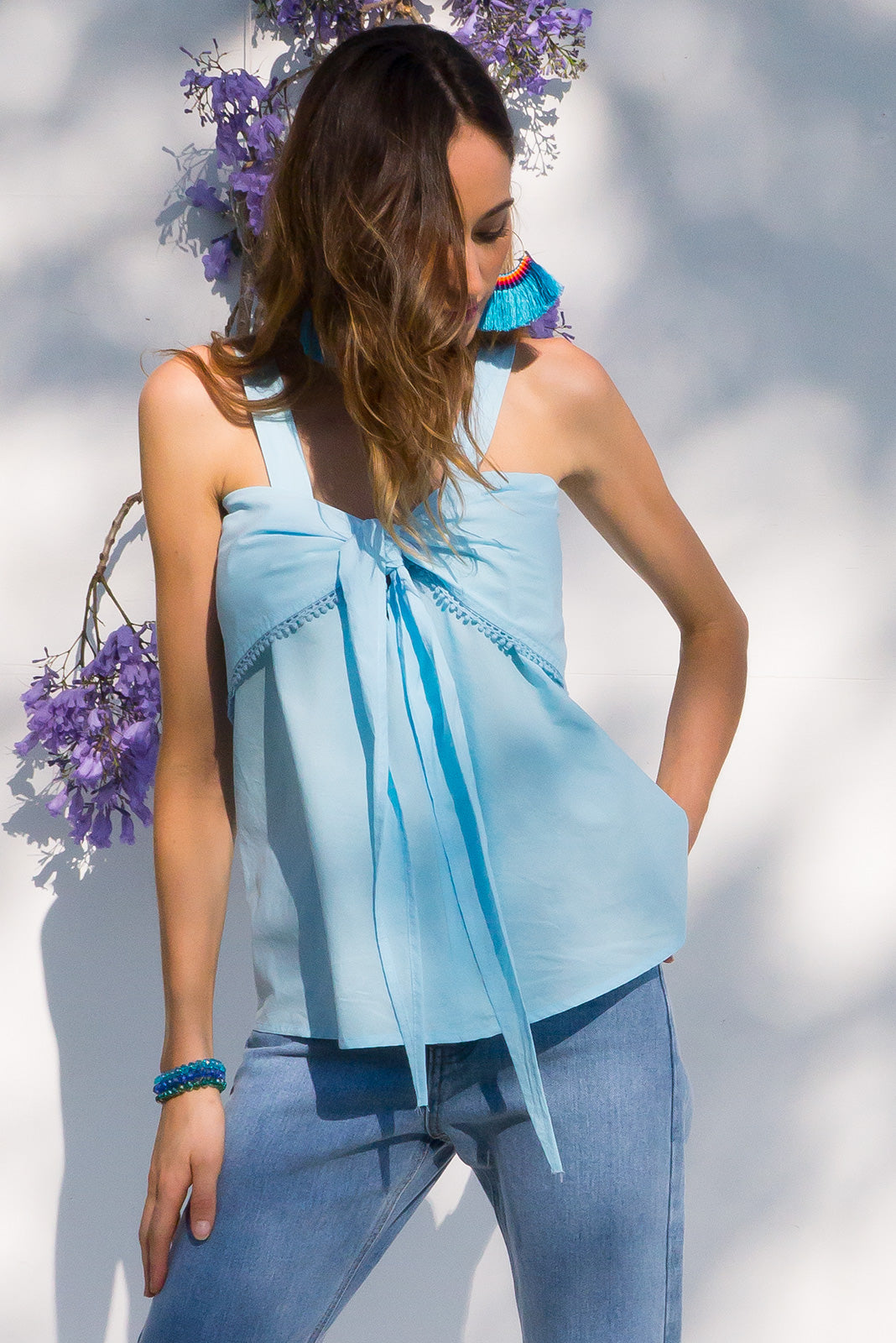 Emmylu Sky Blue cotton top reversible with a tie front