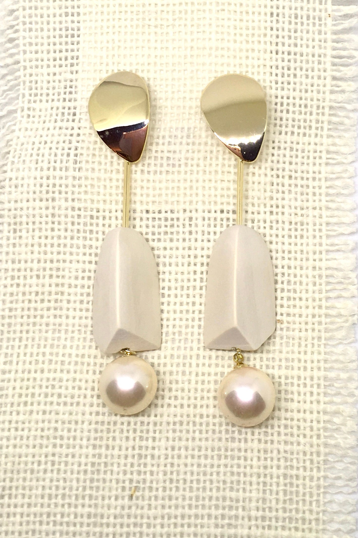 Earrings Pearls and Wood