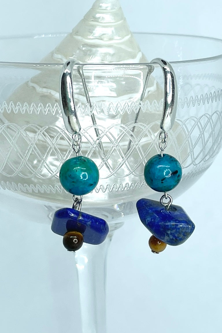 chic style with a boho vibe, earrings with a deep blue Lapis Lazuli and a dark turquoise Chrysacola bead