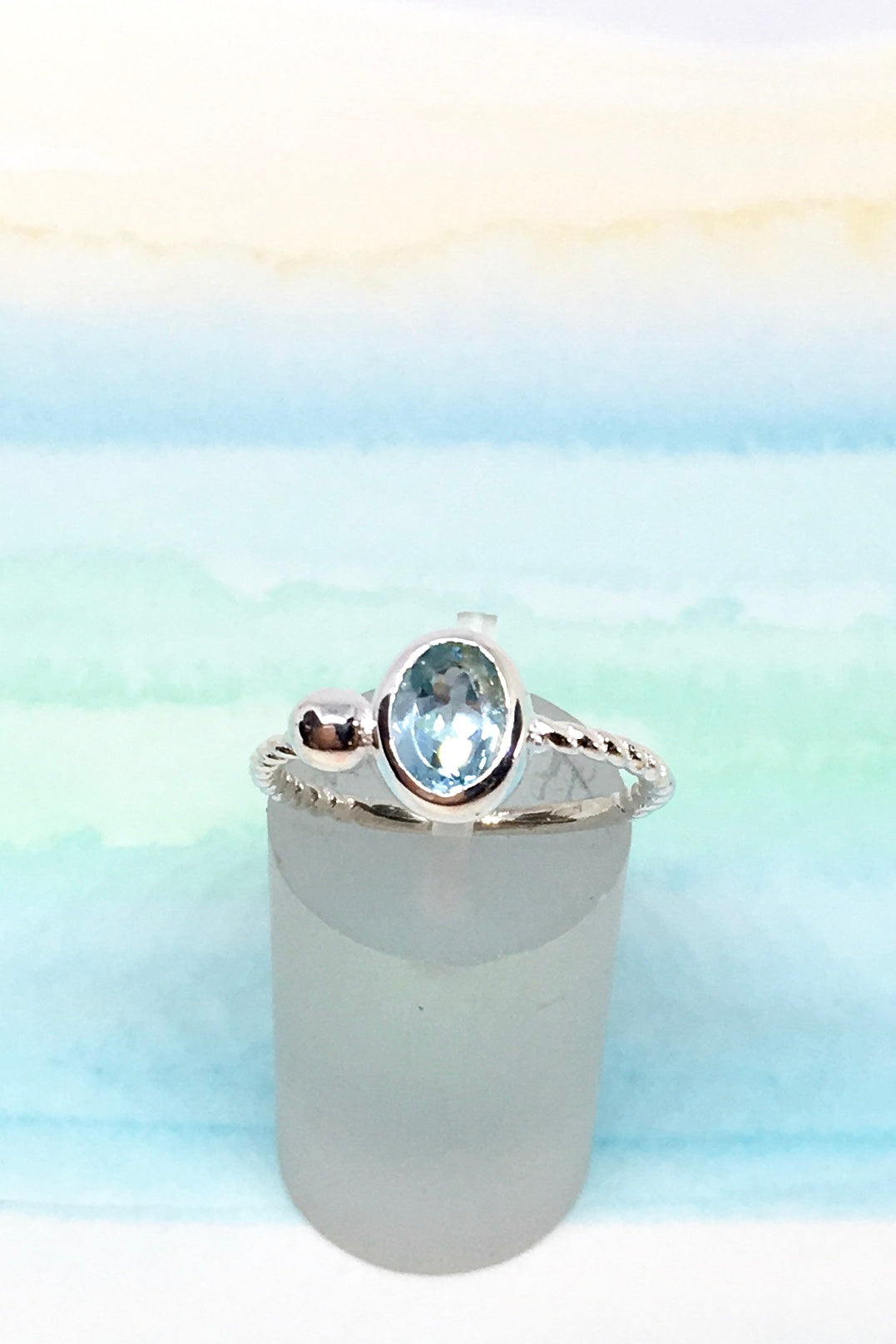 Oracle Ring Sea in 925 Silver with Blue Topaz