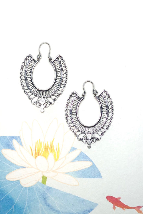 Earrings Cay Peacock Silver Hoop
