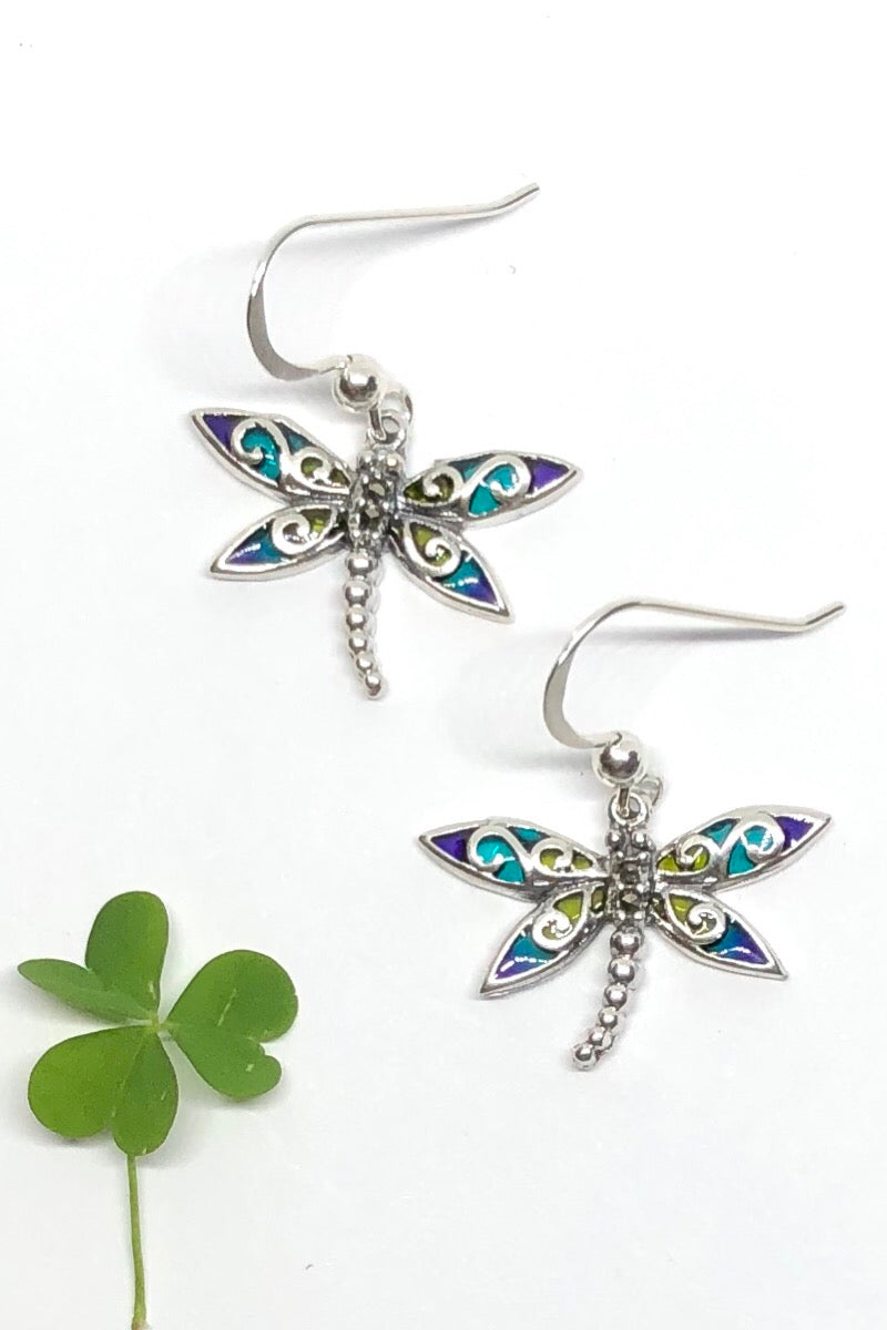 Earrings Dragonfly Magic! these darling little dragonflies are solid 925 silver with pretty and colourful enamel detailing.