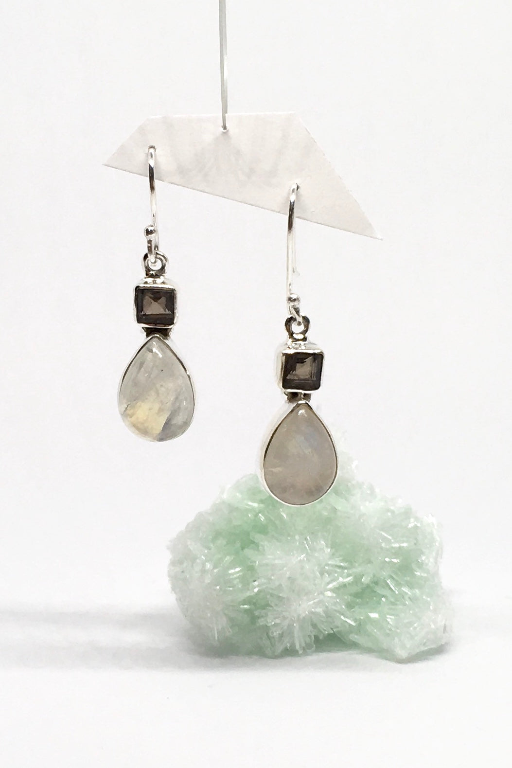 Our new earrings Moonstone Dance have a perfect  Smokey Quartz square cut at the top, and are set in 925 silver.