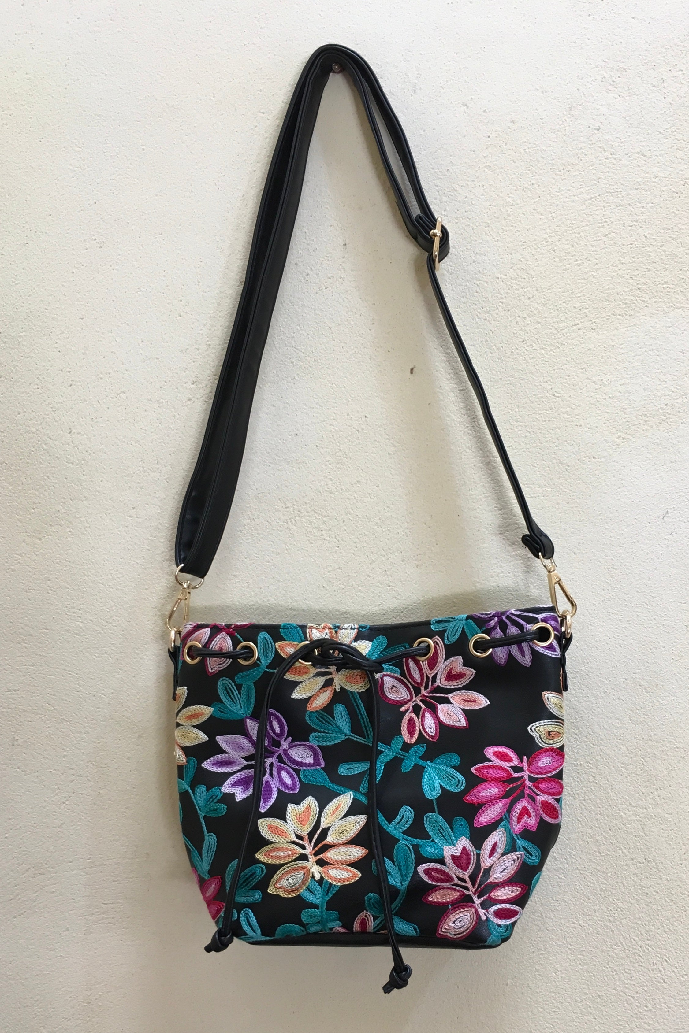 Yeah Bag Boho Colours in Black Vegan Leather with colourful embroidery