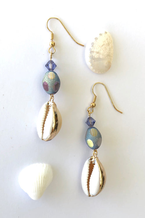 Earrings High Tide Cowrie and Crystal Mauve Bead