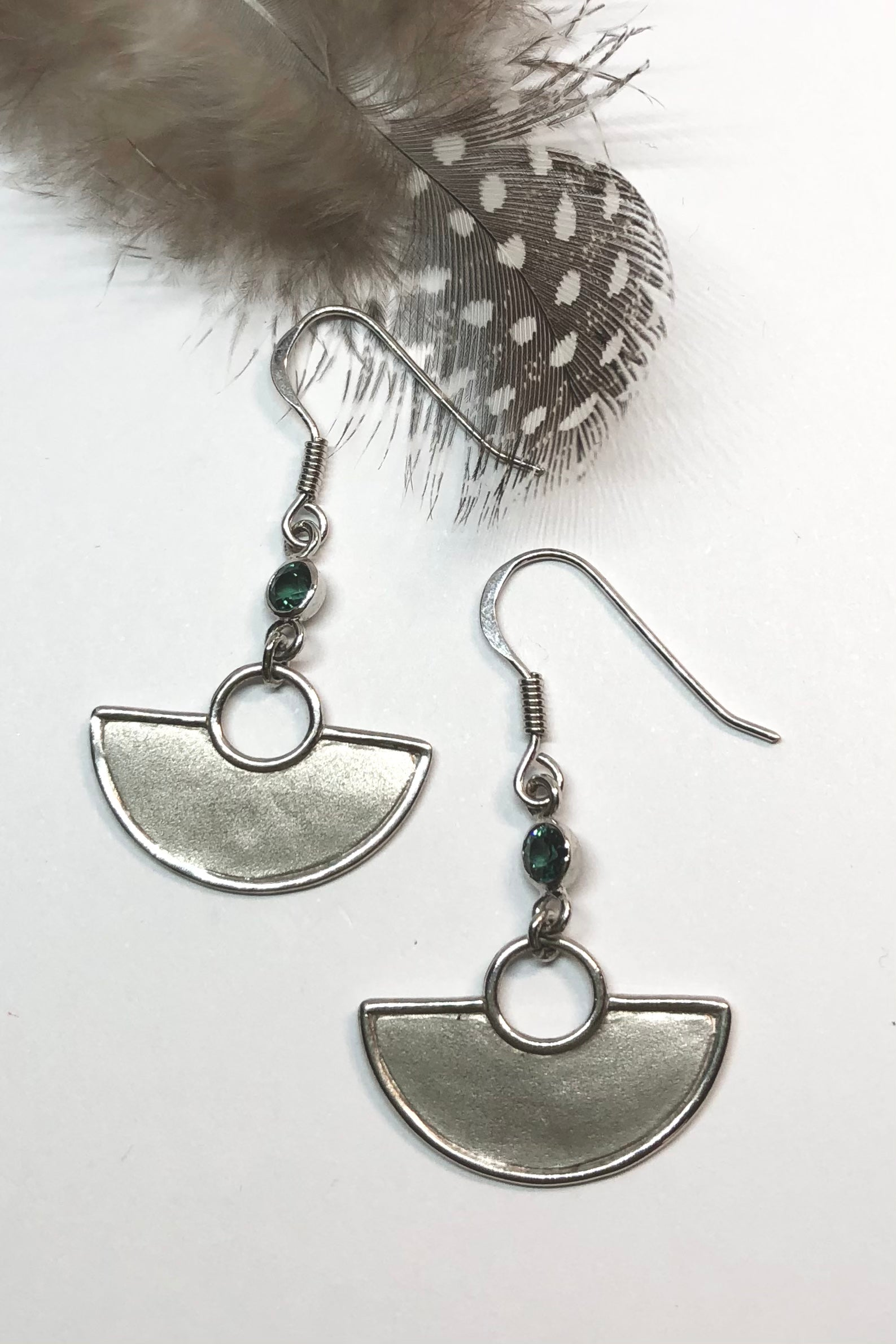 African Style 925 silver Earrings with a Tourmaline gemstone which hangs perfectly from a silver circle.