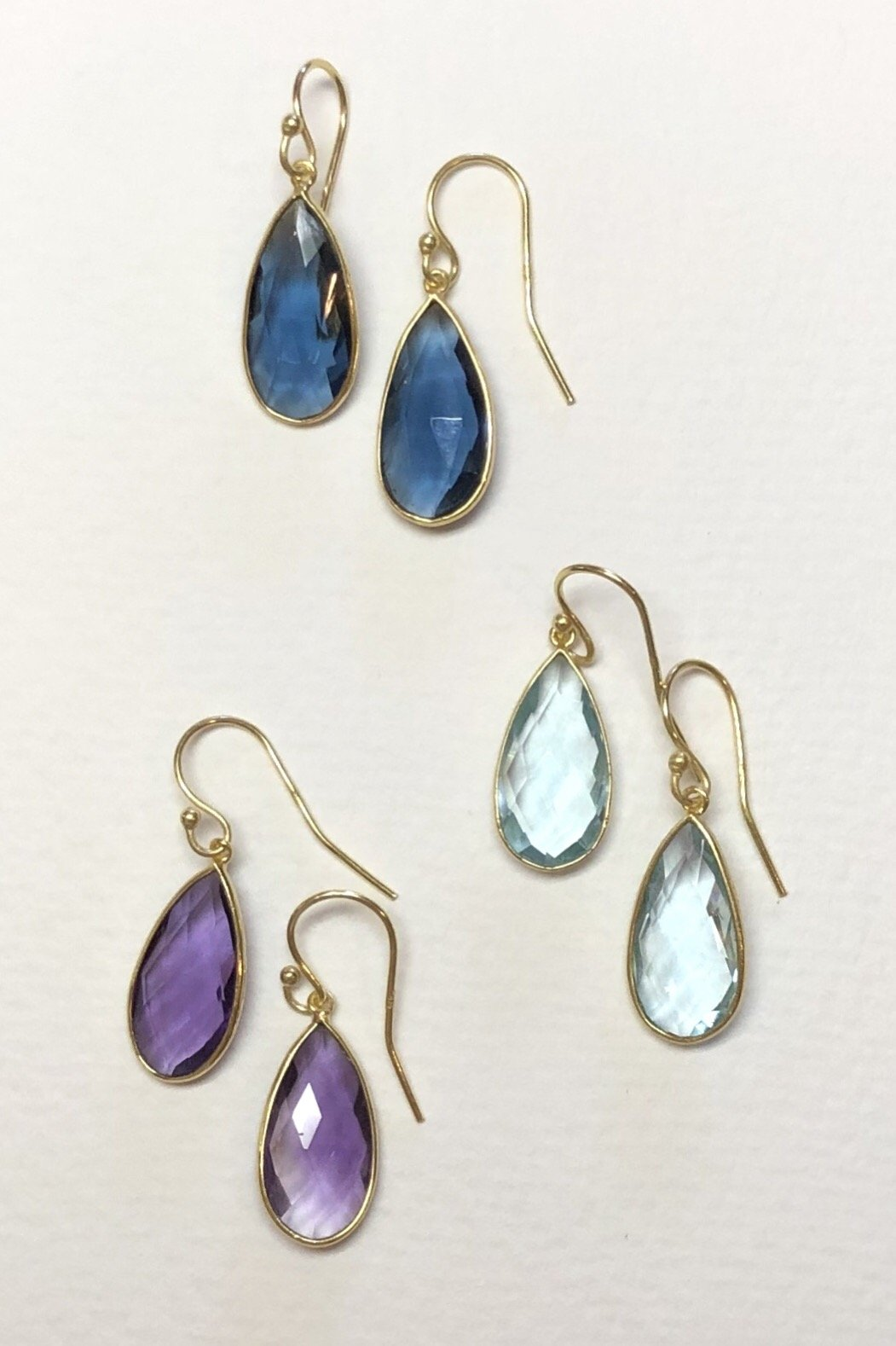 teardrop earrings made from montana blue agate and gold vermeil