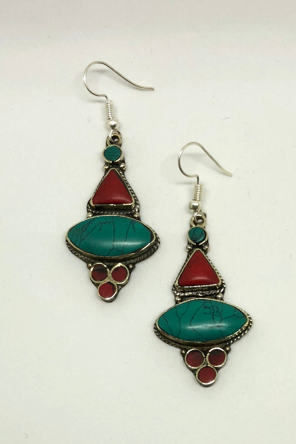 Earrings Paloma Inlaid in Faux Turquoise and Coral Colour, festival style earrings