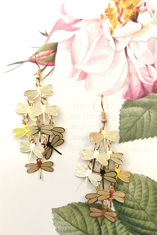 Earrings Dragonfly Gold