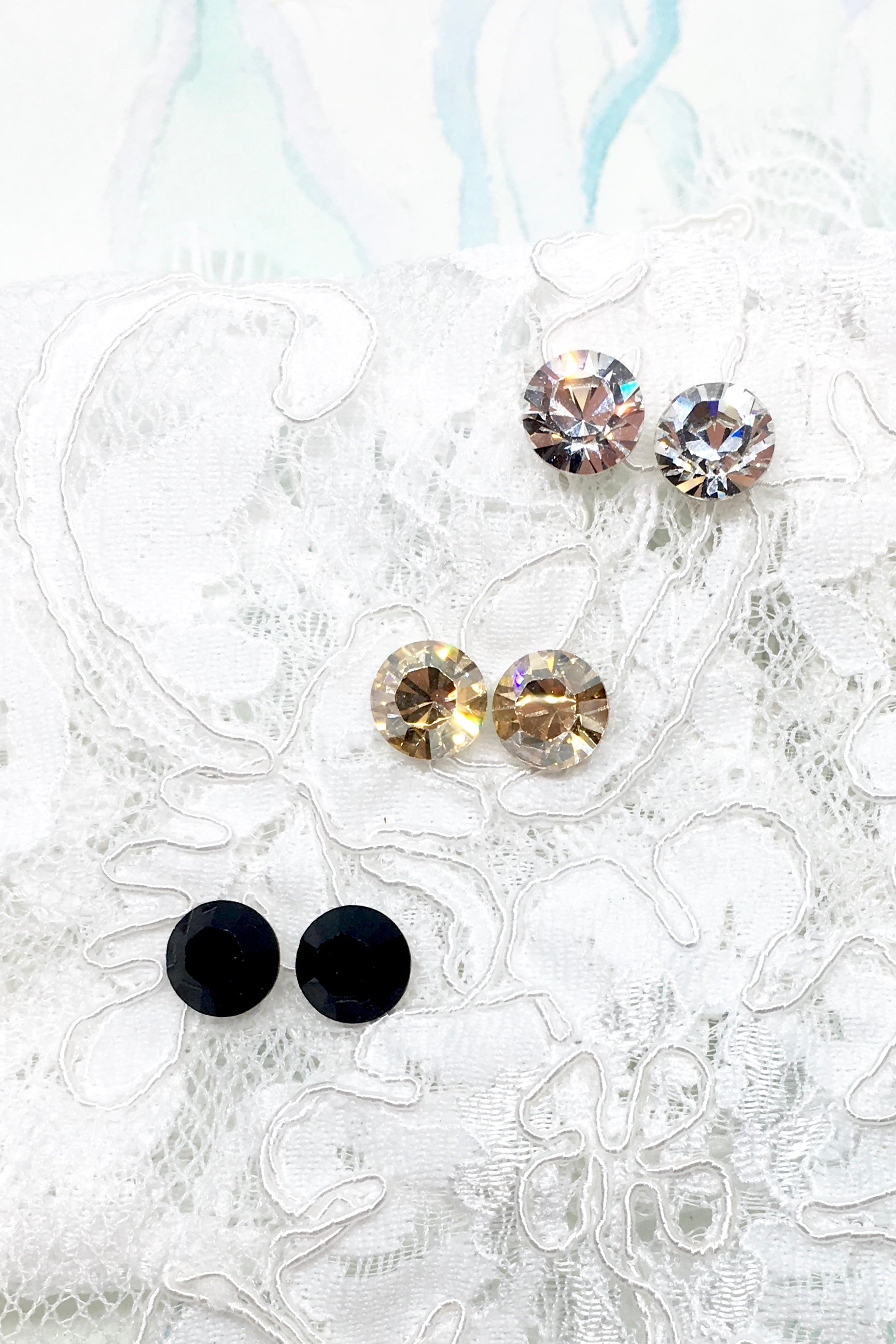Earrings Crystal Stud in Jet Black, Golden Light or Diamond White