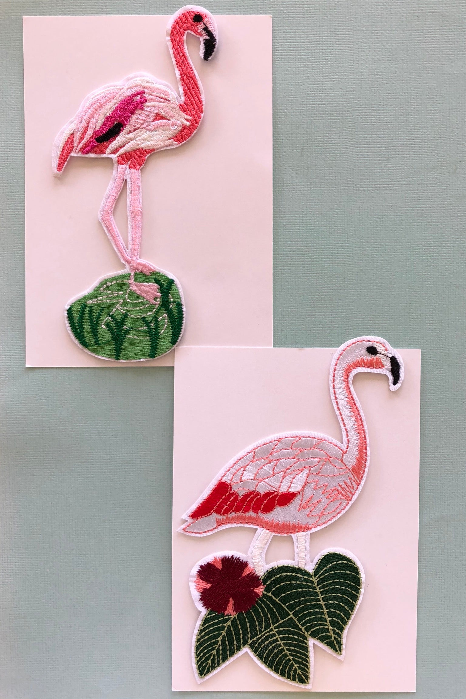 Iron on Motif Flamingo Pinks, Cute patch for denim decoration.