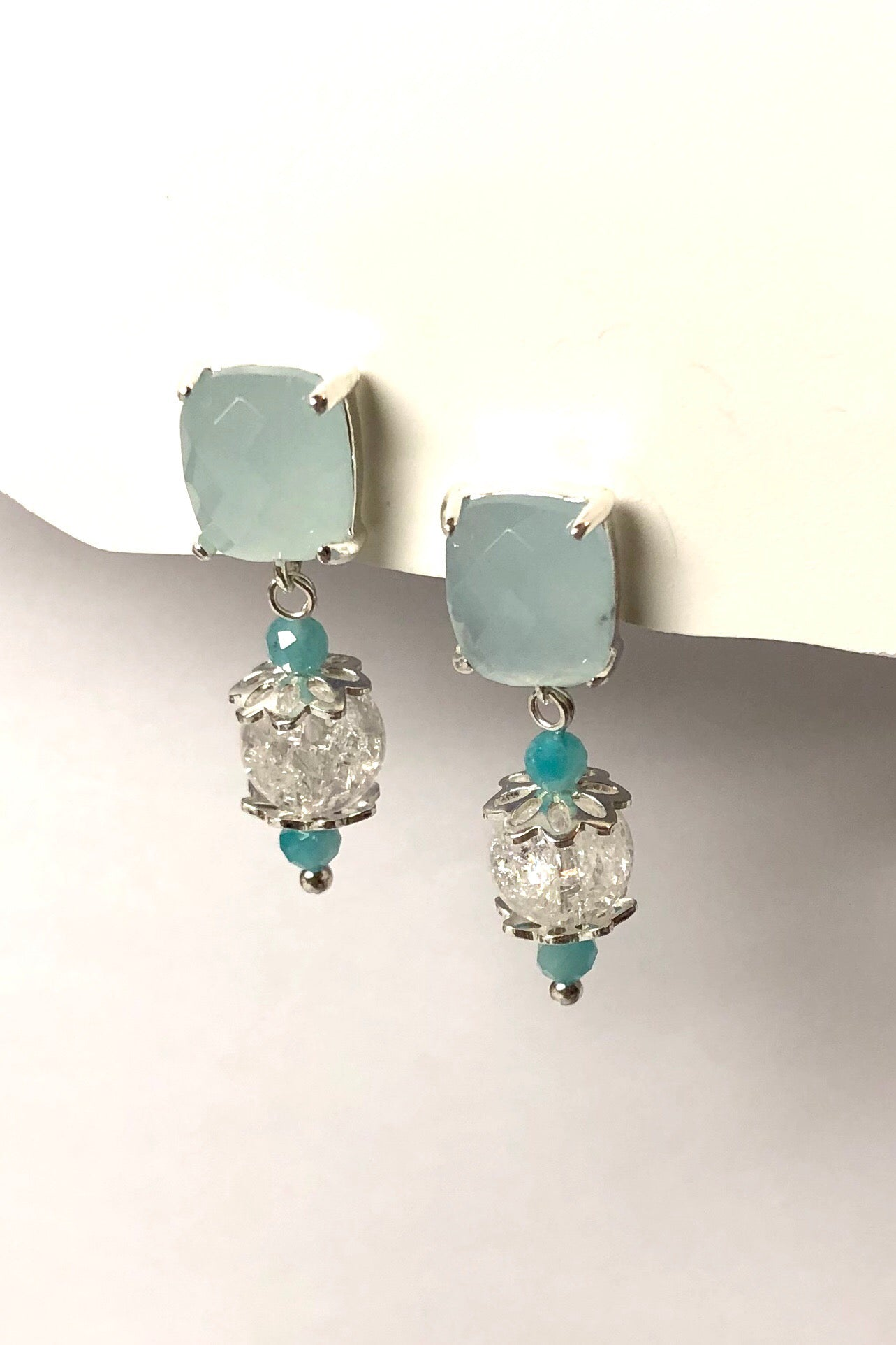 Earrings Serendipity Icicle are made from natural crackle Quartz stone,