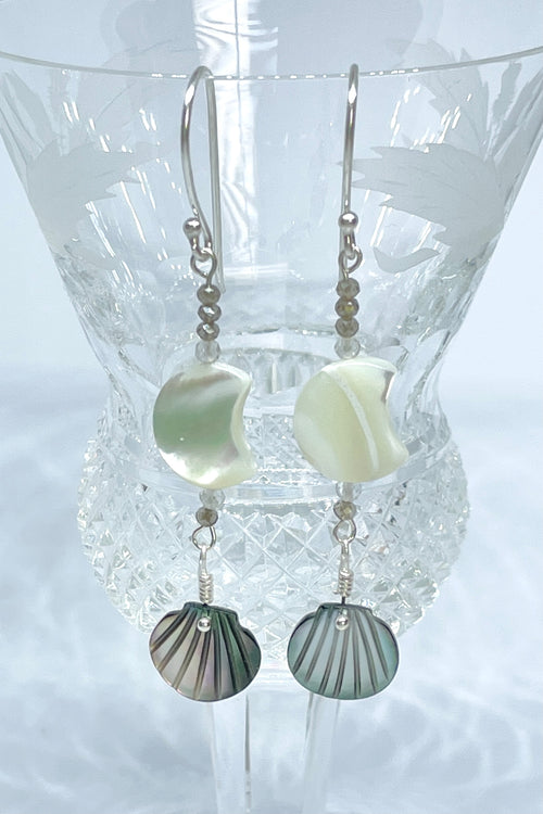 Earrings Serendipity Mother of Pearl Silvery Moon