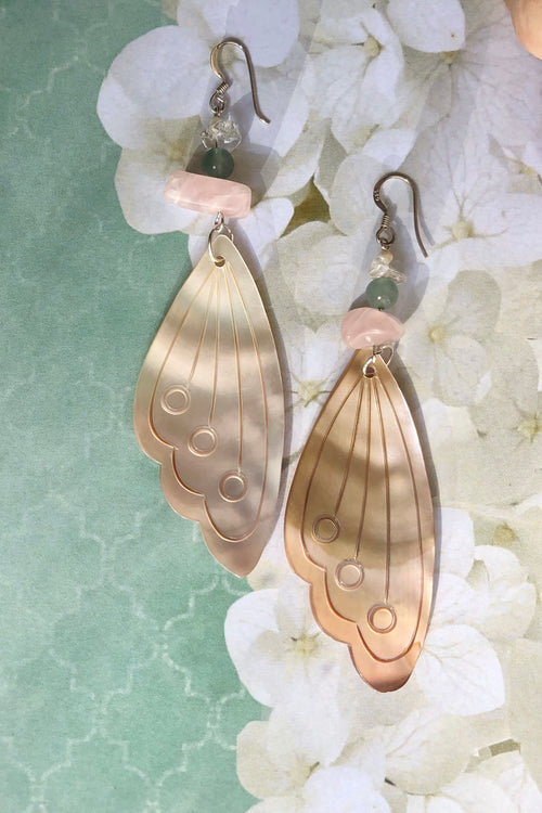Earrings Serendipity Butterfly Wing Shell Pink