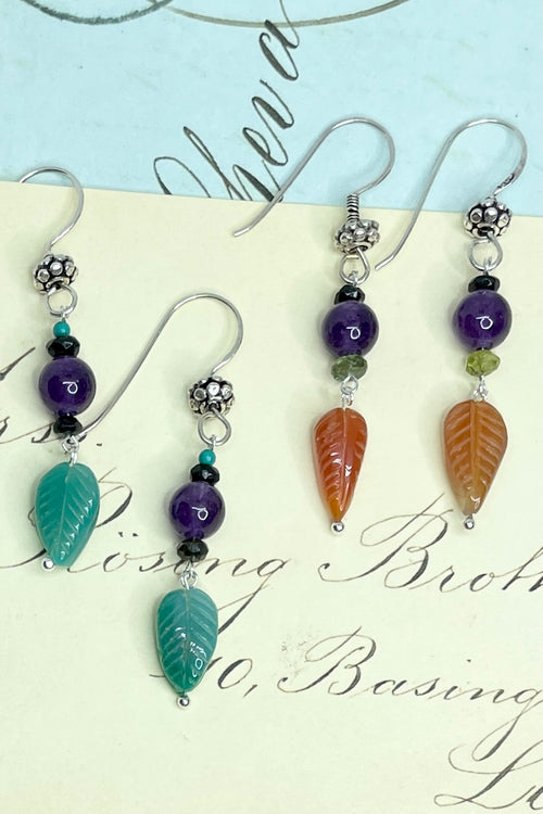 Earrings Samara Leaf and Beads