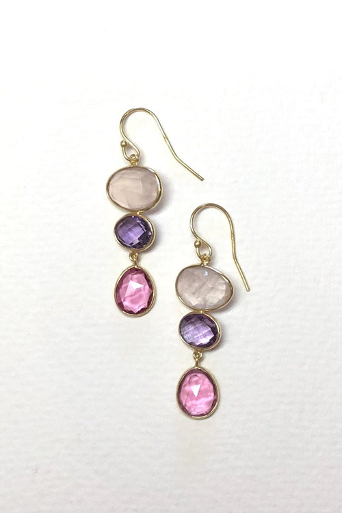Oracle Earrings Golden Pink Moons